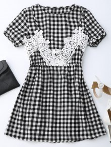 Checked Lace Trim A-Line Dress