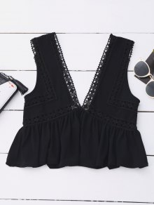 Ruffles Lace Trim Cropped Tank Top - Black