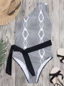 Self Tie One Shoulder Striped Swimsuit