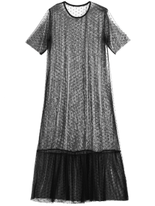 Sheer Mesh Midi Beach Cover Up Dress - Black M