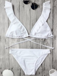 Ruffles Back Tied Padded Bikini Set - White