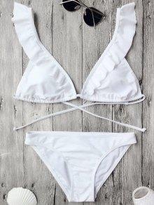 Ruffles Back Tied Padded Bikini Set