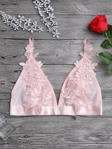 Applique Sheer Mesh Plunge Bralette Top