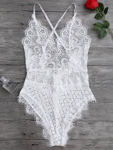 Scaolloped Sheer Eyelash Lace Teddy Bodysuit - White S