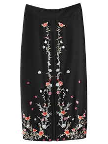 Slit Floral Embroidered A-Line Skirt