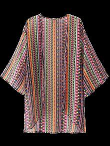 Geometric Open Front Kimono Blouse