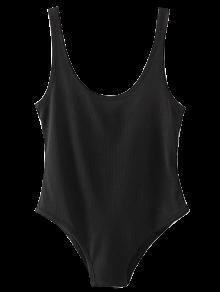 Skinny Ribbed Bodysuit - Negro
