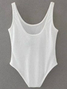 Skinny Ribbed Bodysuit - Blanco