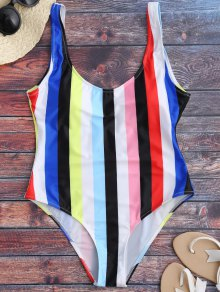 Rainbow Stripes One Piece Swimsuit - Multicolor L