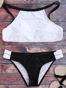 Two Tone High Neck Bikini Set