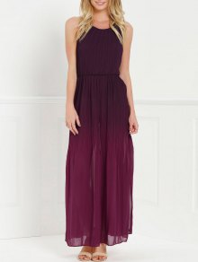 Halter Ombre Color High Slit Maxi Dress - Red