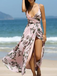 Floral Cross Back Cami Maxi Dress