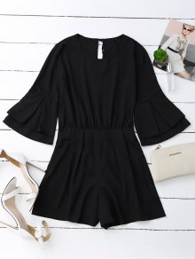 Split Back Flare Sleeve Romper - Black M