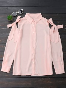 Button Up Knot Cold Shoulder Chiffon Blouse