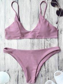 Padded Spaghetti Straps Bikini Set - Pinkish Purple