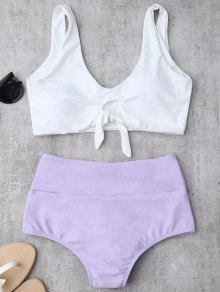 Knotted High Waisted Ruched Bikini Set - Purple