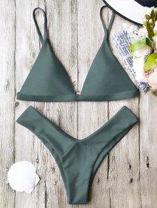 Soft Pad Spaghetti Straps Thong Bikini Set - Green