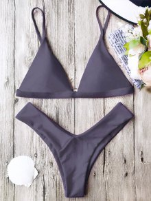 Soft Pad Spaghetti Straps Thong Bikini Set - Taro