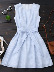Sleeveless Striped Bowknot Dress - Blue Stripe S