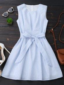 Sleeveless Striped Bowknot Dress - Blue Stripe L