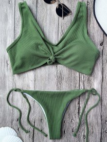 Ribbed Knotted String Bralette Bikini - Army Green S