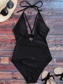 Open Back Plunge One Piece Swimwear - Black L