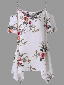 Plus Size Dew Shoulder Tiny Floral Blouse