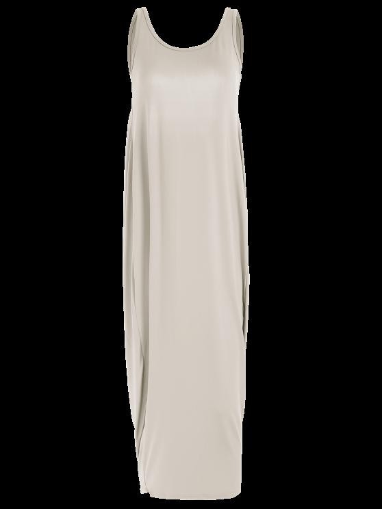 Baggy Maxi Tank Dress - KHAKI S Mobile