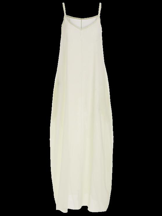 Spaghetti Strap Solid Color Sleeveless Maxi Dress - WHITE S Mobile