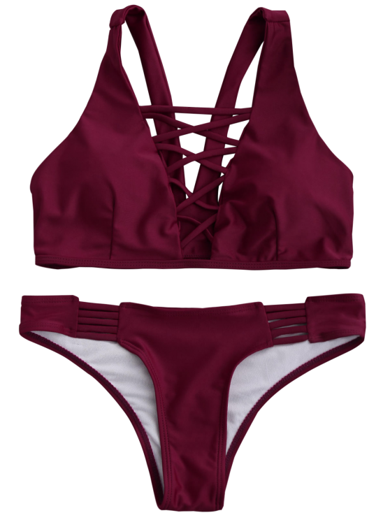 Padded Strappy Front Bikini - WINE RED XL Mobile