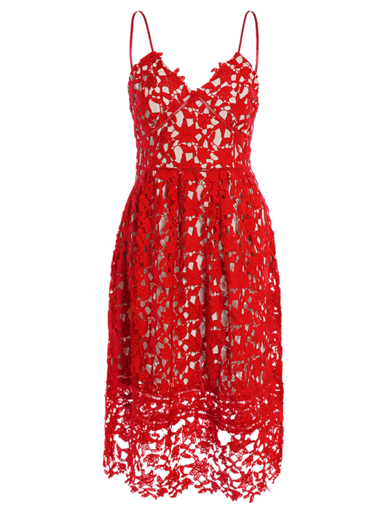Cami Crochet Flower Midi Dress - RED S Mobile