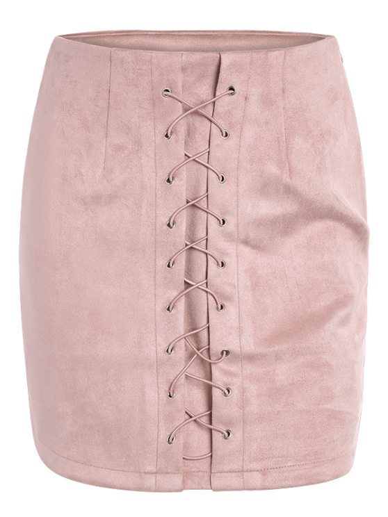 Lace-Up Bodycon Skirt - PINK S Mobile