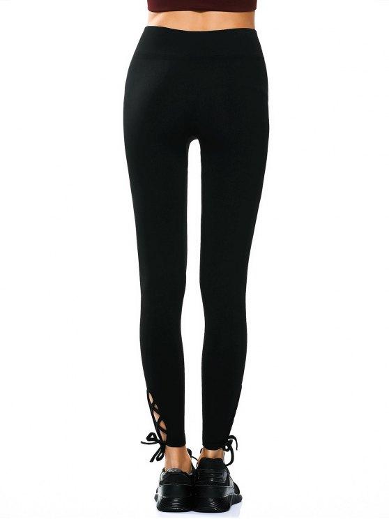 Lace Up Hem Yoga Leggings - BLACK M Mobile