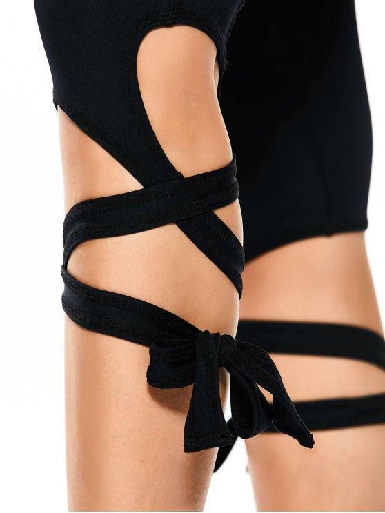 Skinny Wrap Hem Yoga Capri Leggings - BLACK M Mobile