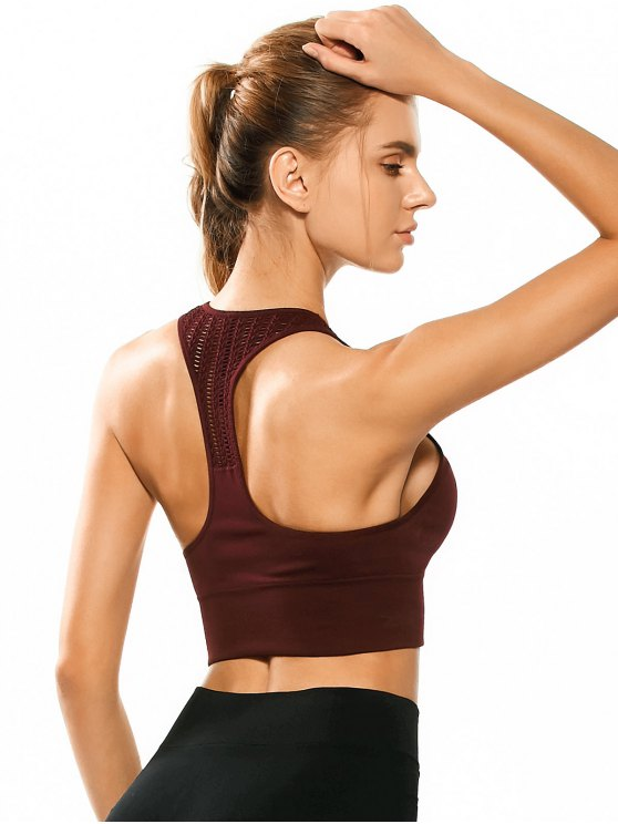 Racerback Padded Cut Out Sporty Bra Top - BORDEAUX M Mobile