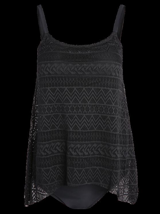 Modest Lace Tankini Swimsuit - BLACK L Mobile