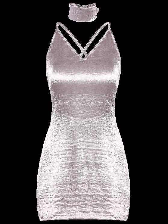 Pure Color Cami Satin Dress - SILVER M Mobile