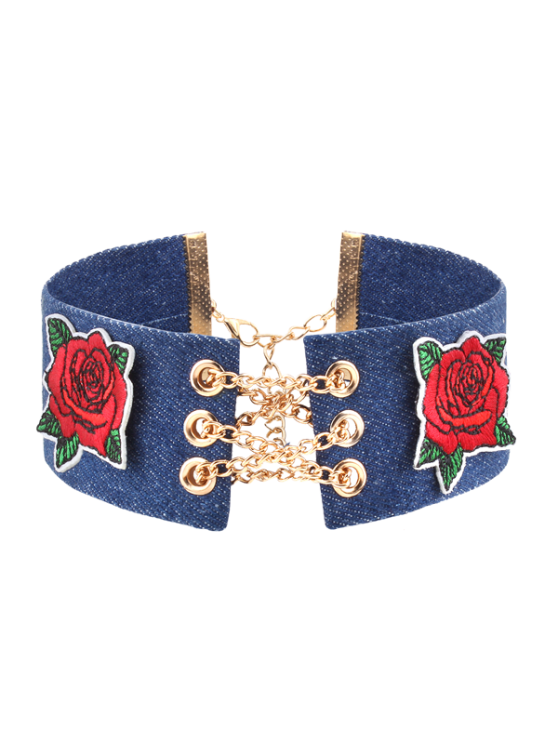 Cadena de aleación de aleación de bordado de flores collar de estrangulación - Denim Blue