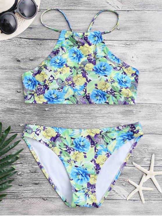 Conjunto de bikini Paisley floral de cuello alto - Floral M