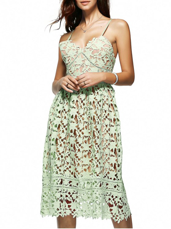 Cami Crochet Flower Midi Dress - LIGHT GREEN L Mobile