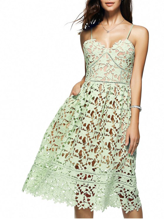 women Cami Crochet Flower Midi Dress - LIGHT GREEN L