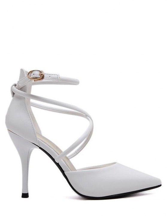 trendy Faux Leather Cross Straps Mini Heel Pumps - WHITE 37