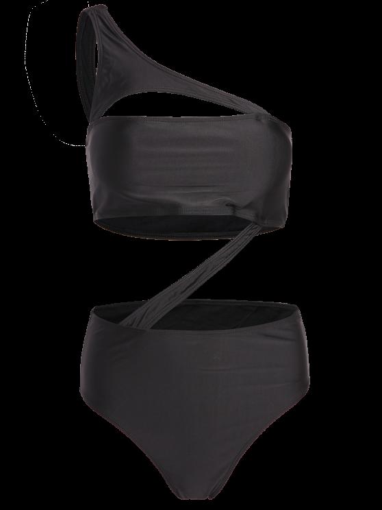 One Shoulder Bandage One Piece Swimwear - BLACK M Mobile