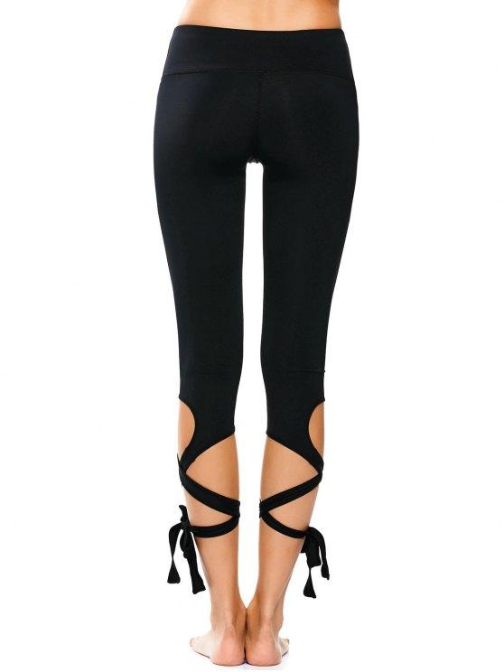Wrap Hem Capri Yoga Pants - BLACK M Mobile