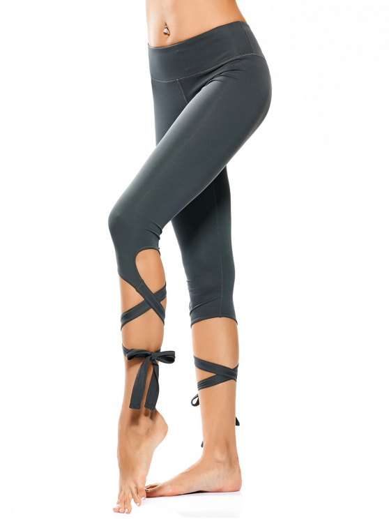 hot Wrap Hem Capri Yoga Pants - ATLANTIS S