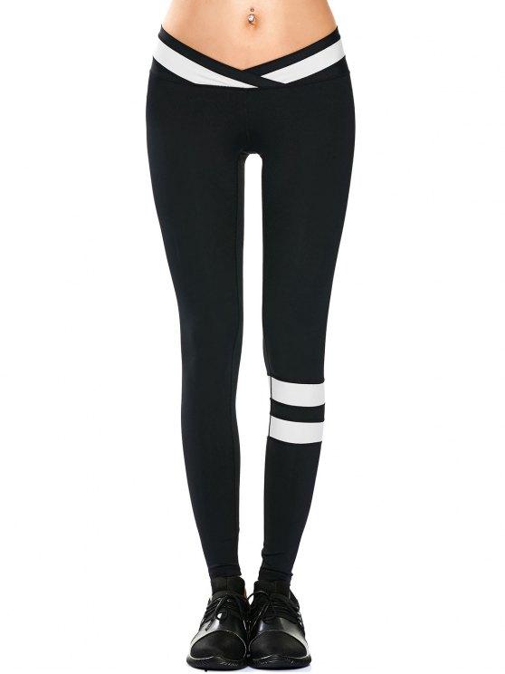 ladies Activewear Two Tone Yoga Leggings - BLACK S