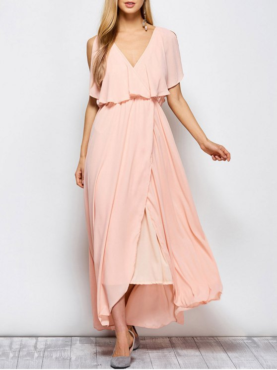 women's Ruffles Plunge Neck Popover Maxi Dress - PINK S