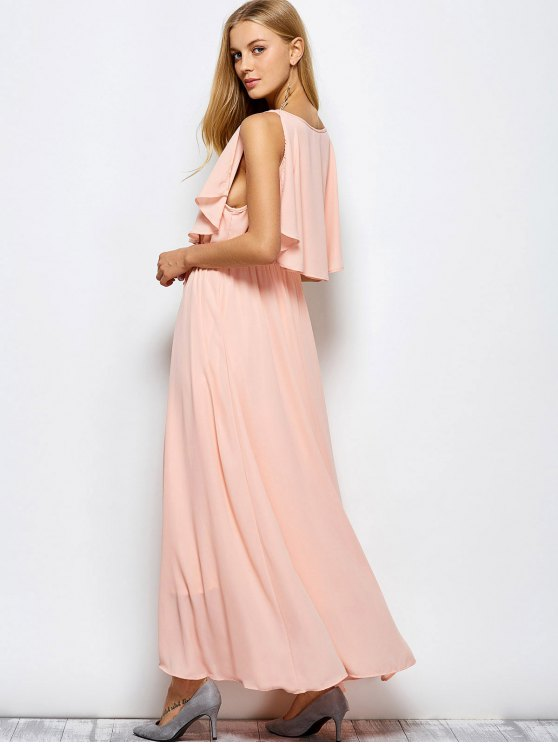 Ruffles Plunge Neck Popover Maxi Dress - PINK S Mobile