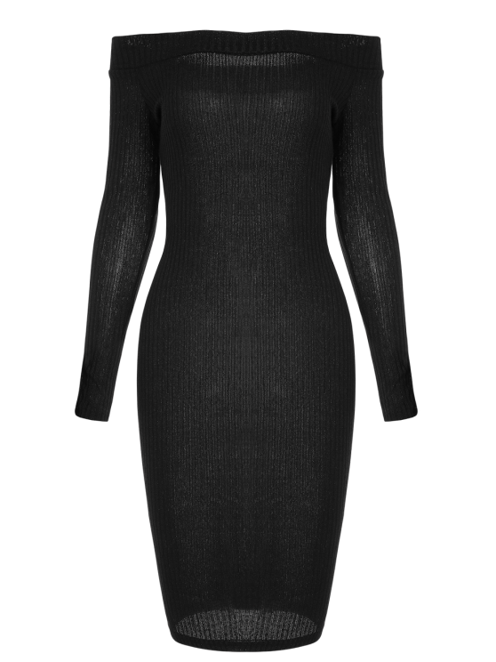 Off Shoulder Bodycon Long Sleeve Dress - BLACK XL Mobile