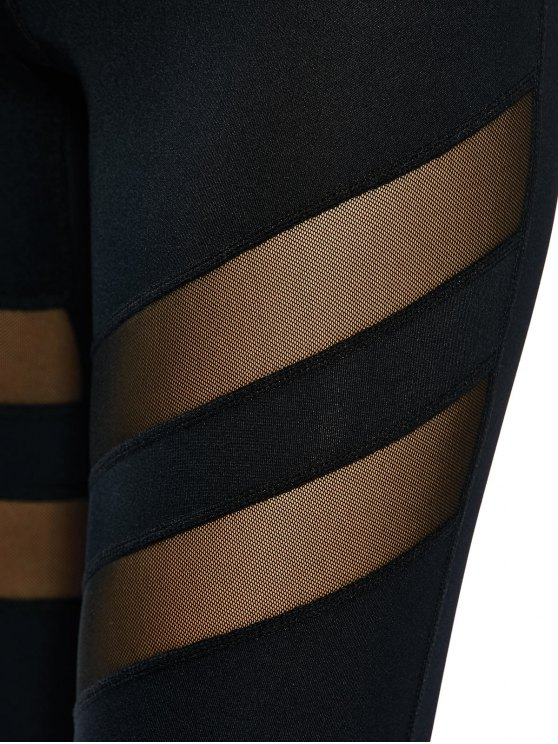 See Through Mesh Panel Sporty Leggings - BLACK XS Mobile